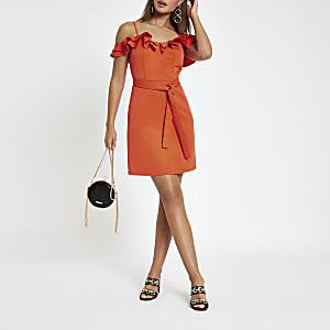 Mini robe Bardot rouge vif à volants