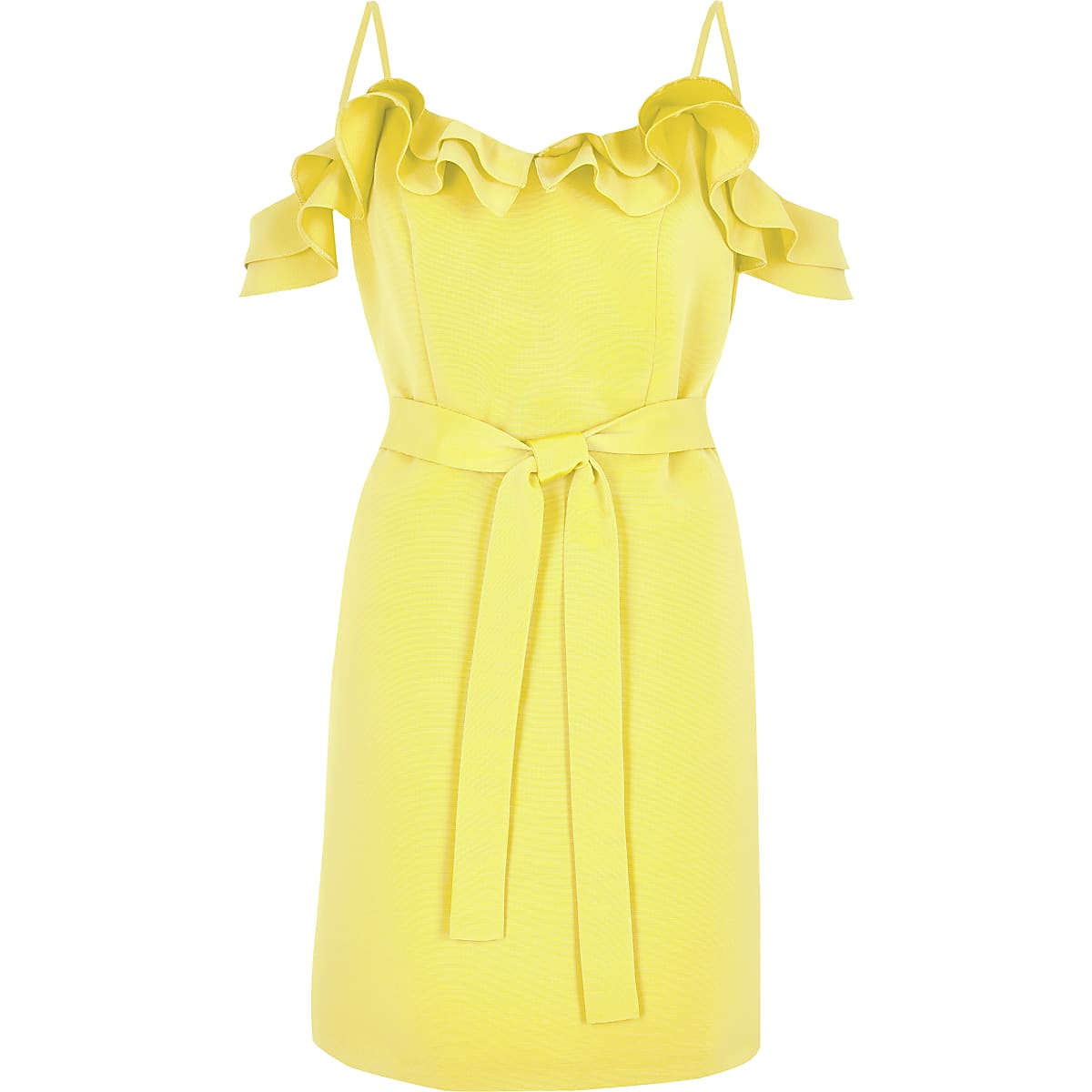 0892c67118a5f2 Gele mini-bardotjurk met ruches - Bardot   Bandeaujurken - Jurken ...