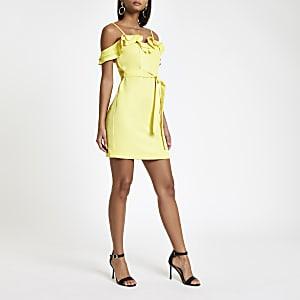 Mini robe Bardot jaune à volants