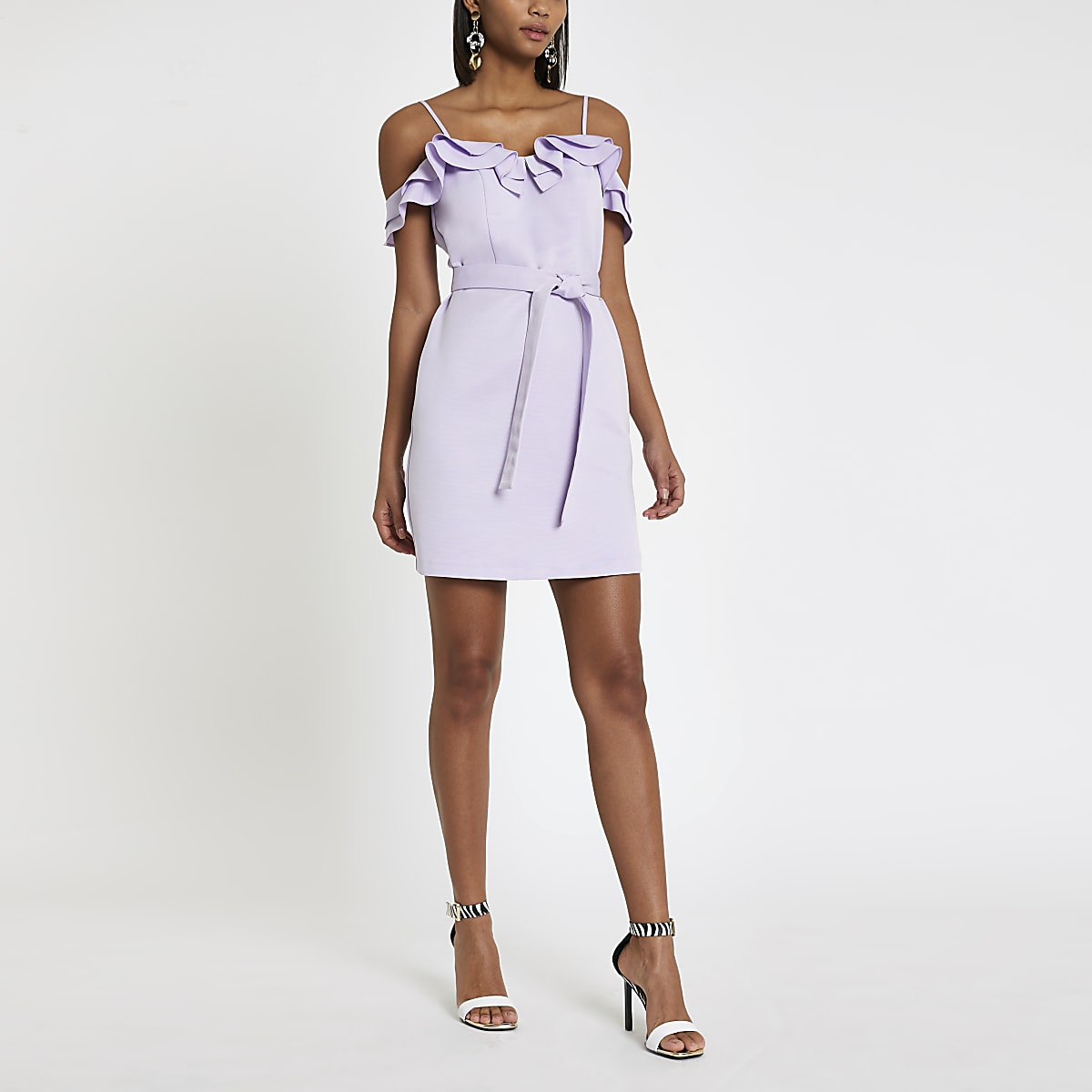 Light purple ruffle bardot mini dress