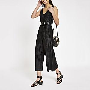 Zwarte mouwloze plissé jumpsuit