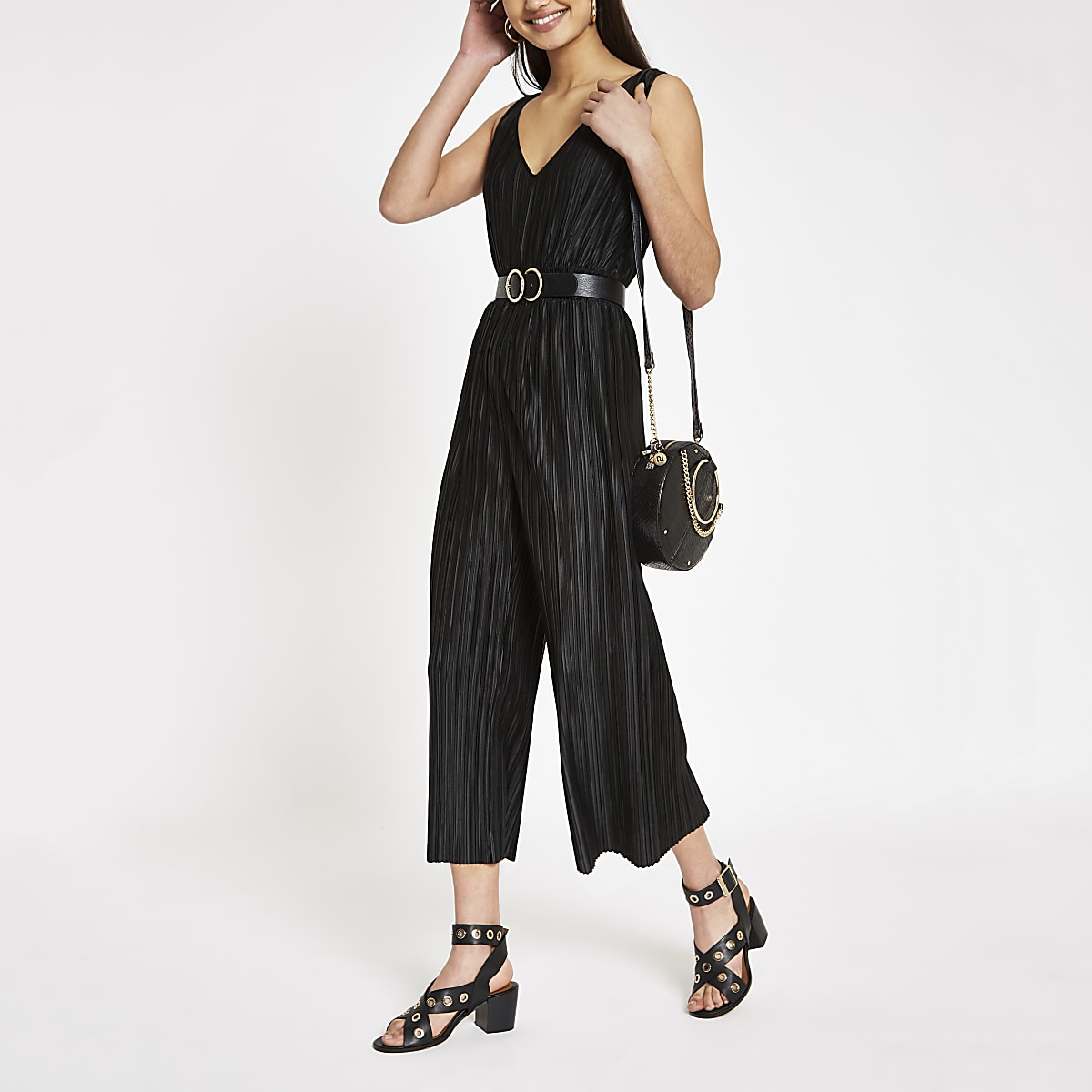 Black plisse sleeveless jumpsuit