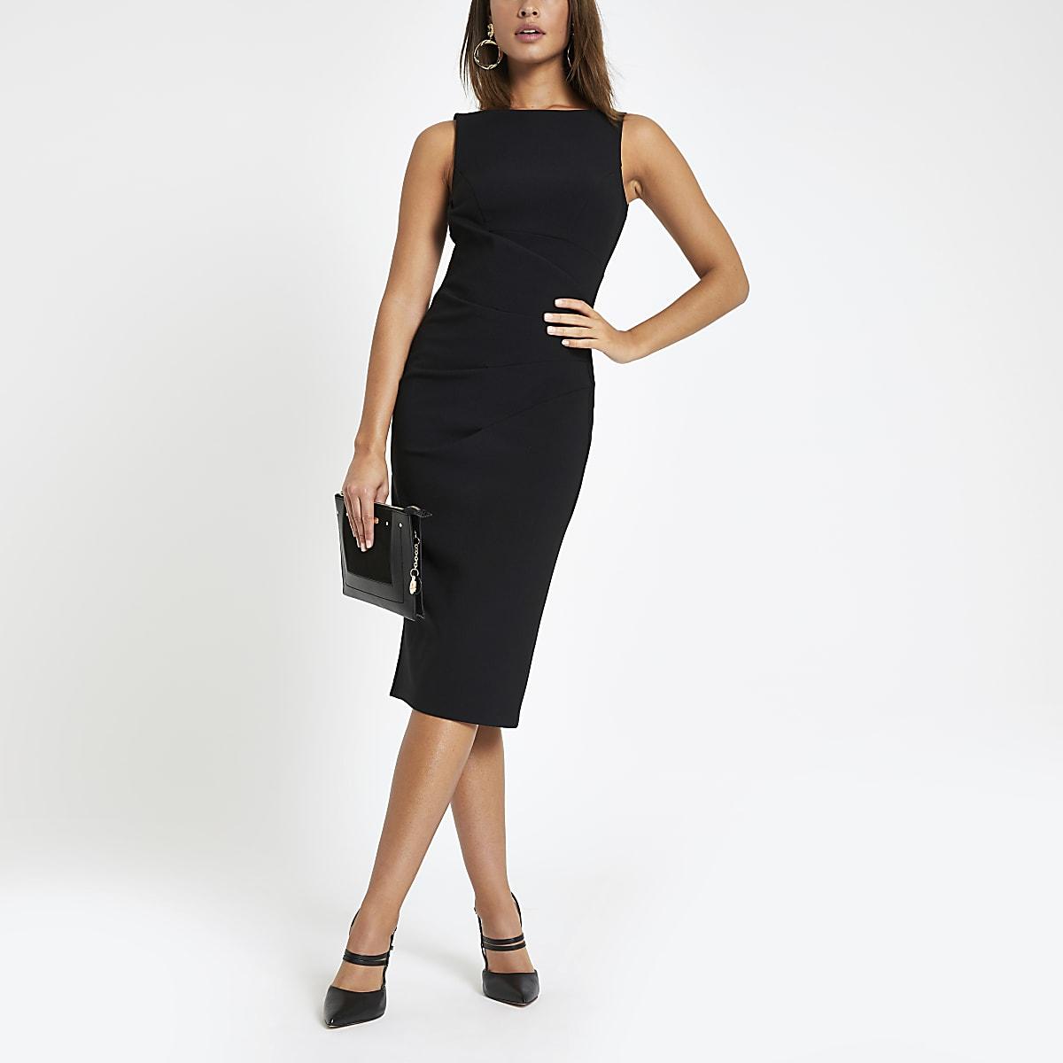 Black bodycon midi dress