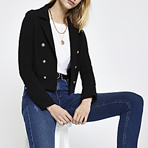 Black ribbed jersey cropped blazer