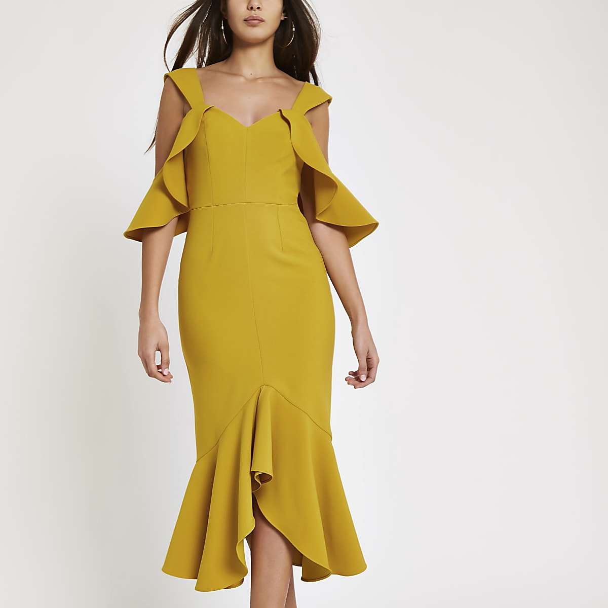 Yellow frill cold shoulder bodycon dress