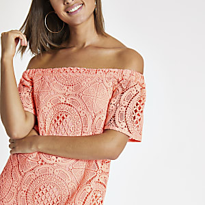 Coral bardot lace swing dress
