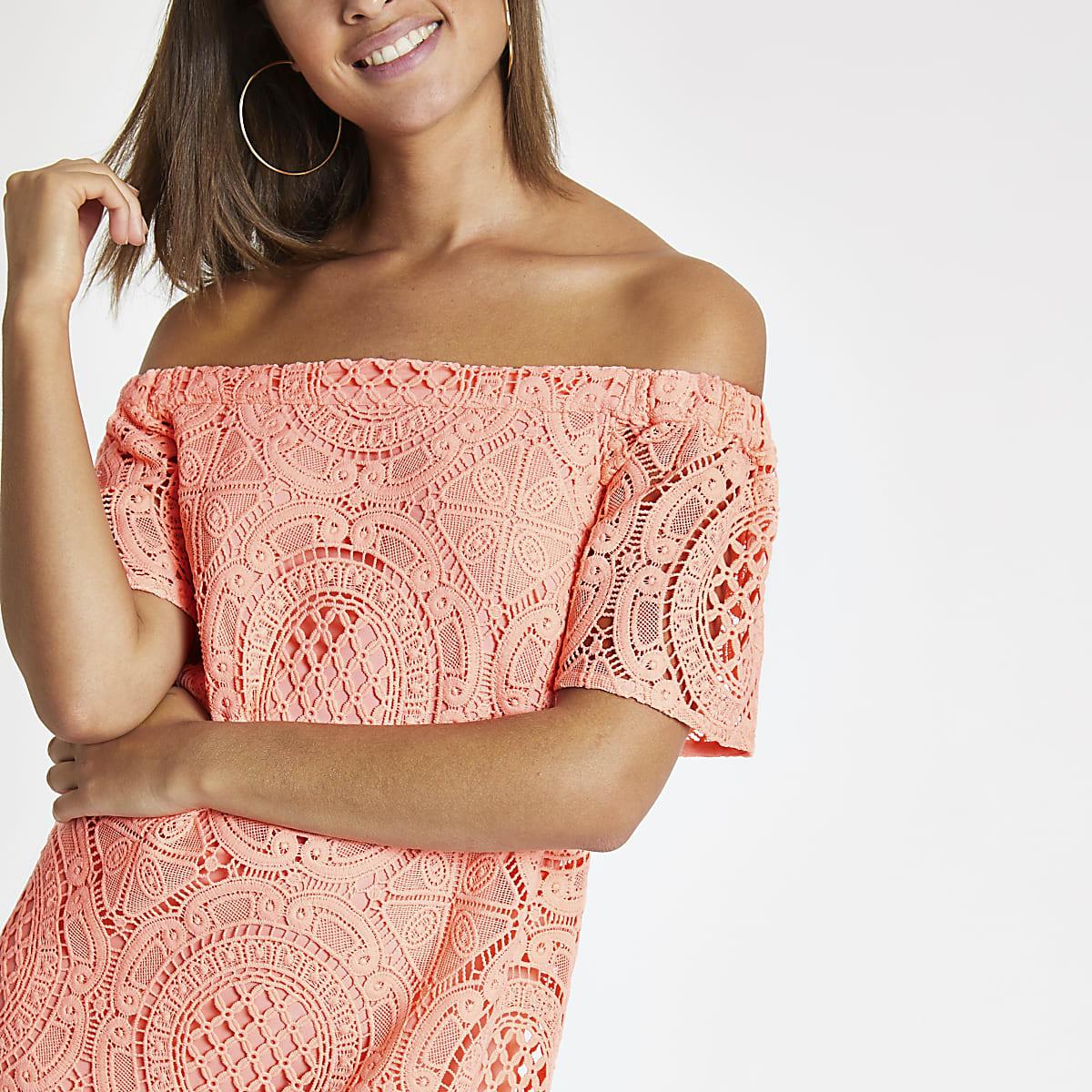 Coral bardot lace swing dress