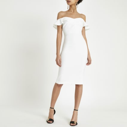 Cream bardot ruffle midi bodycon dress