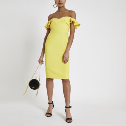 Yellow ruffle bardot midi bodycon dress