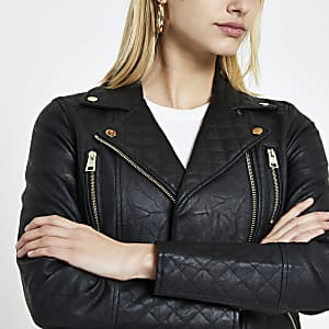 Black faux leather quilted biker jacket