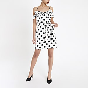 White spot ruffle bardot mini dress