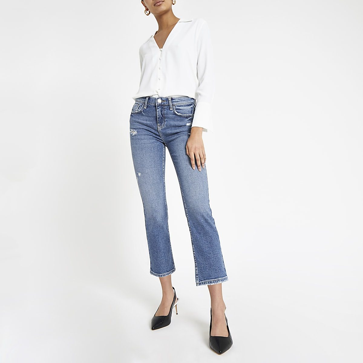 Blue cropped flare jeans