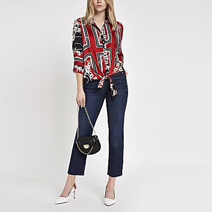 Dark blue cropped flare jeans