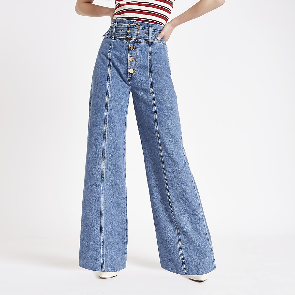purchase cheap 28989 dafe4 Mid blue belted wide leg denim jeans