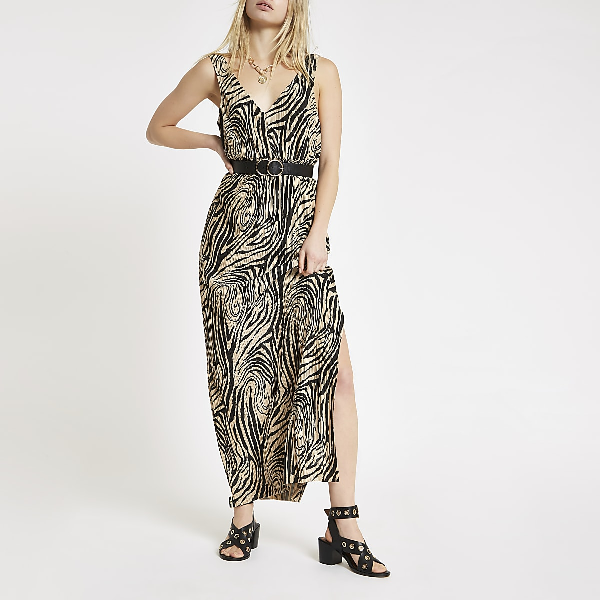 Beige zebra print plisse maxi dress