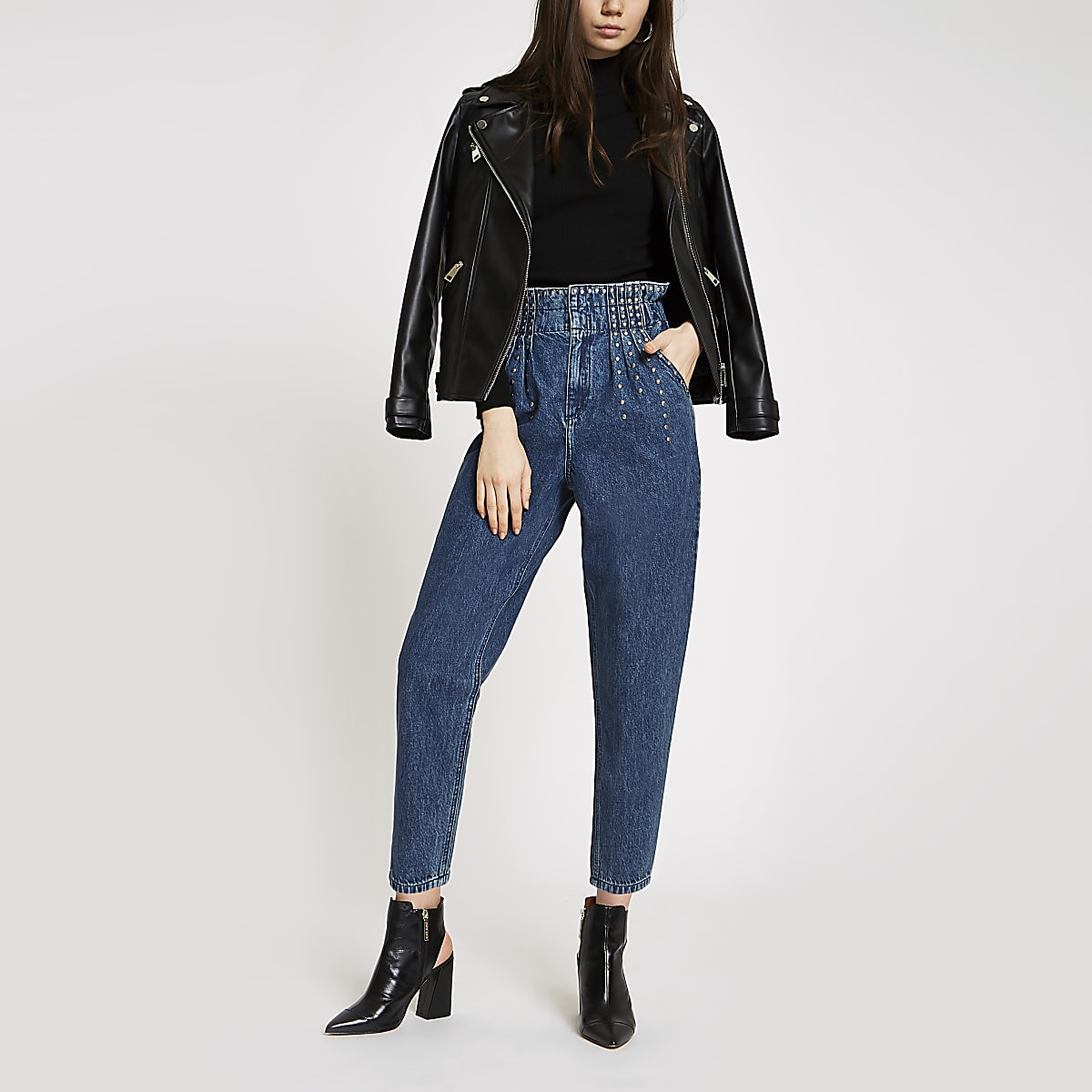 Blauwe jeans met studs en bandplooi