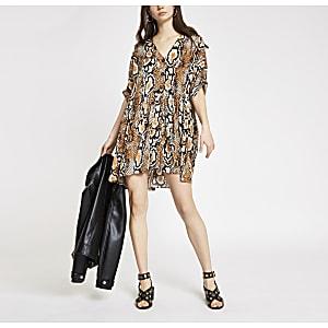 Beige snake print swing dress