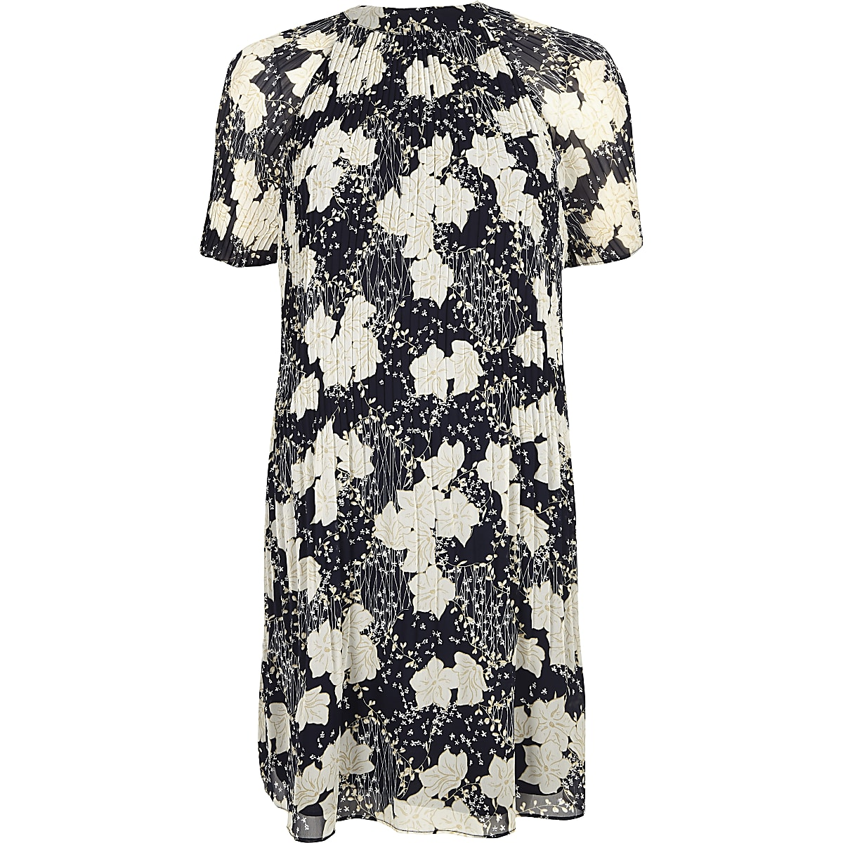 a0dbfc4fb0c9 Navy floral print pleated swing dress - Swing Dresses - Dresses - women