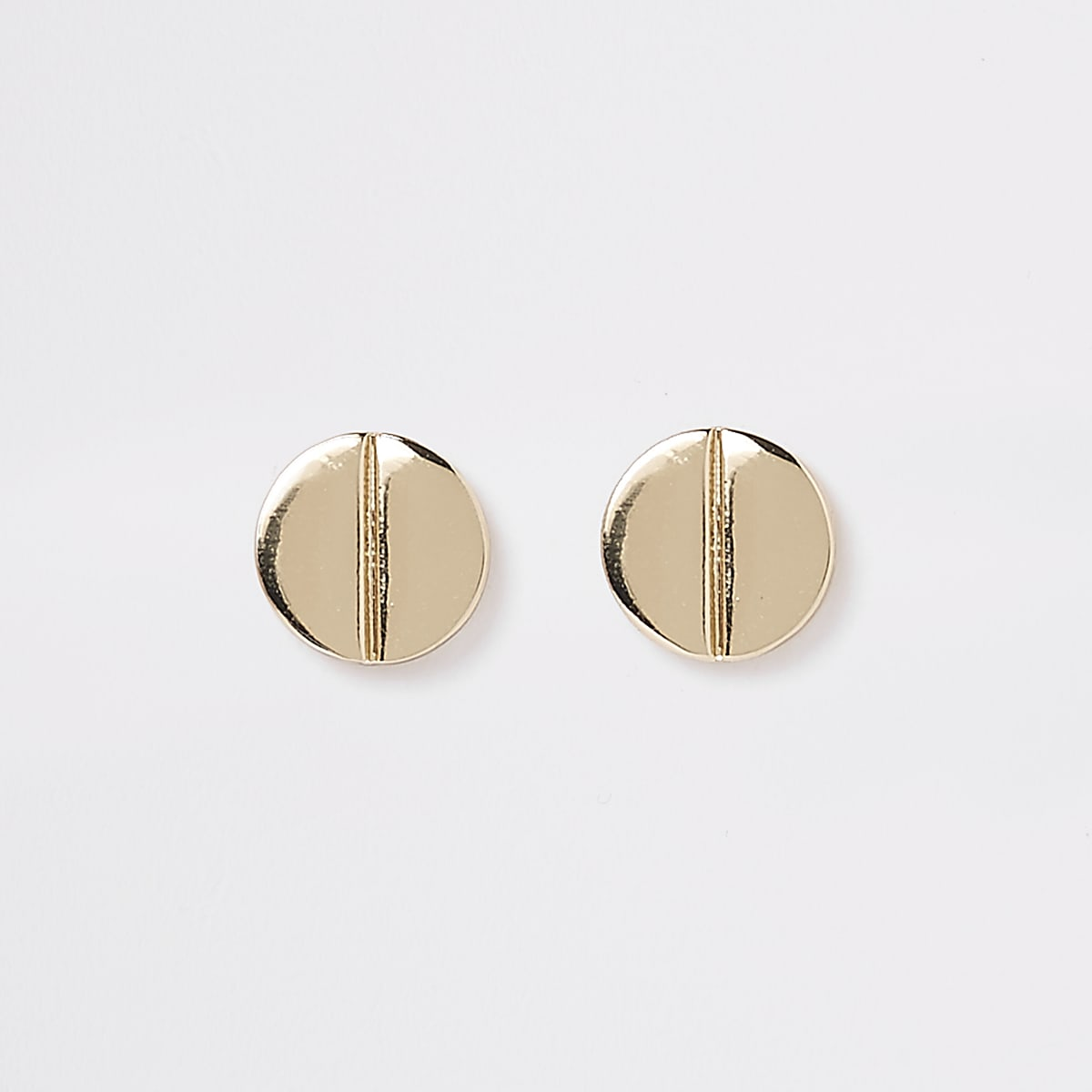 Gold color split stud earrings