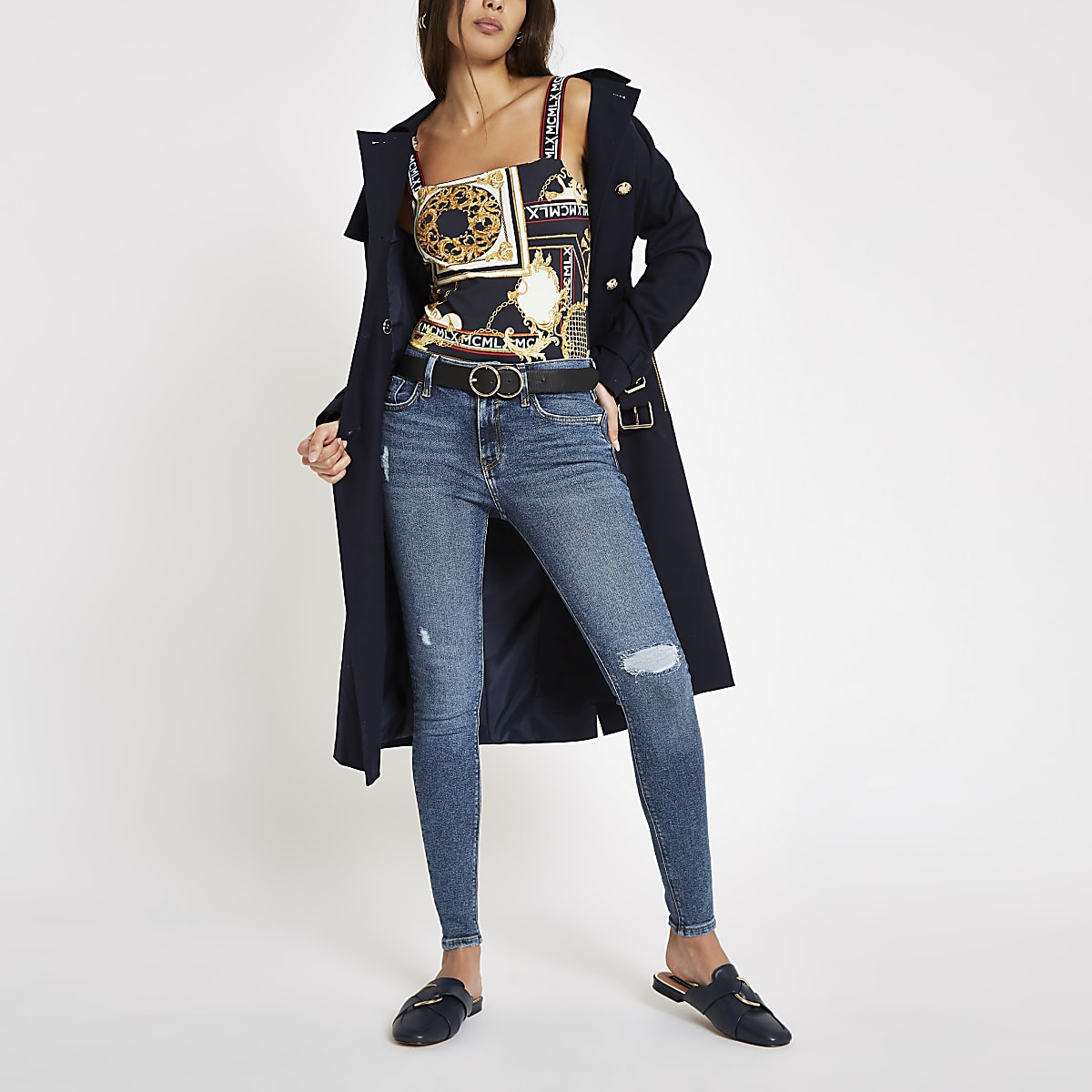 Mid blue Amelie ripped skinny jeans