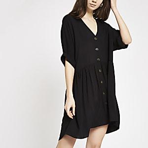 Black button front swing dress