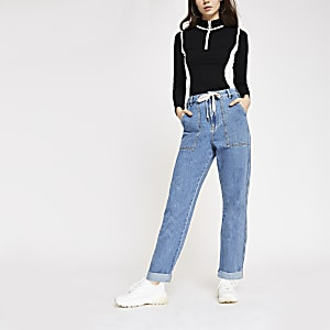 Mid blue high rise utility jeans