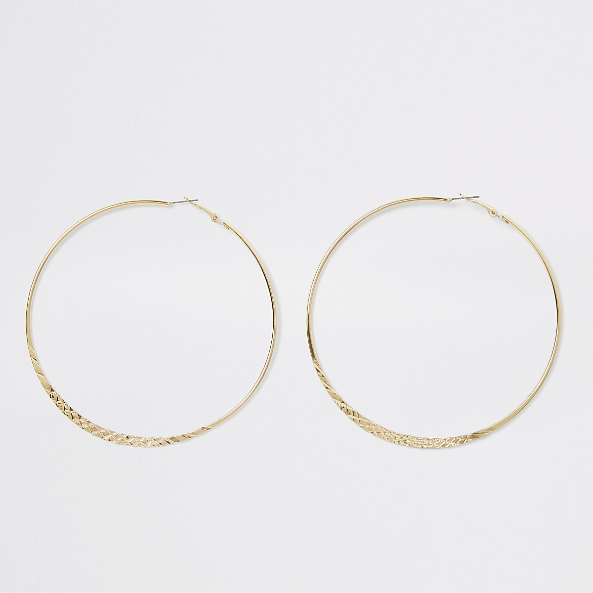 Gold colour crosshatch large hoop earrings
