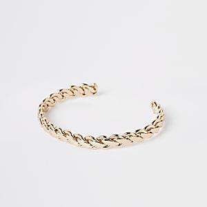 Gold color plaited cuff bracelet