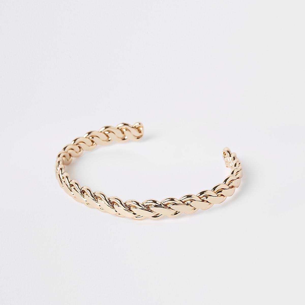Gold colour plaited cuff bracelet