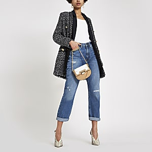 Middelblauwe ripped denim mom jeans