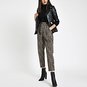 Jean imprimé léopard marron à taille haute ceinturée