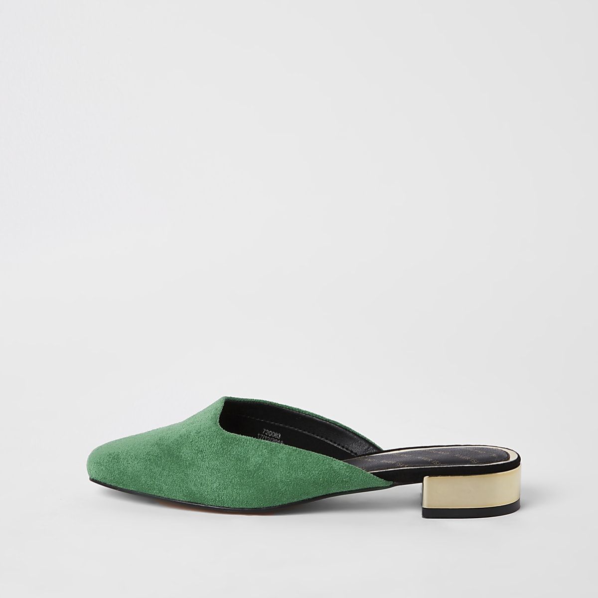 Green square toe backless loafers