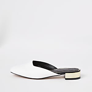 White square toe backless loafers