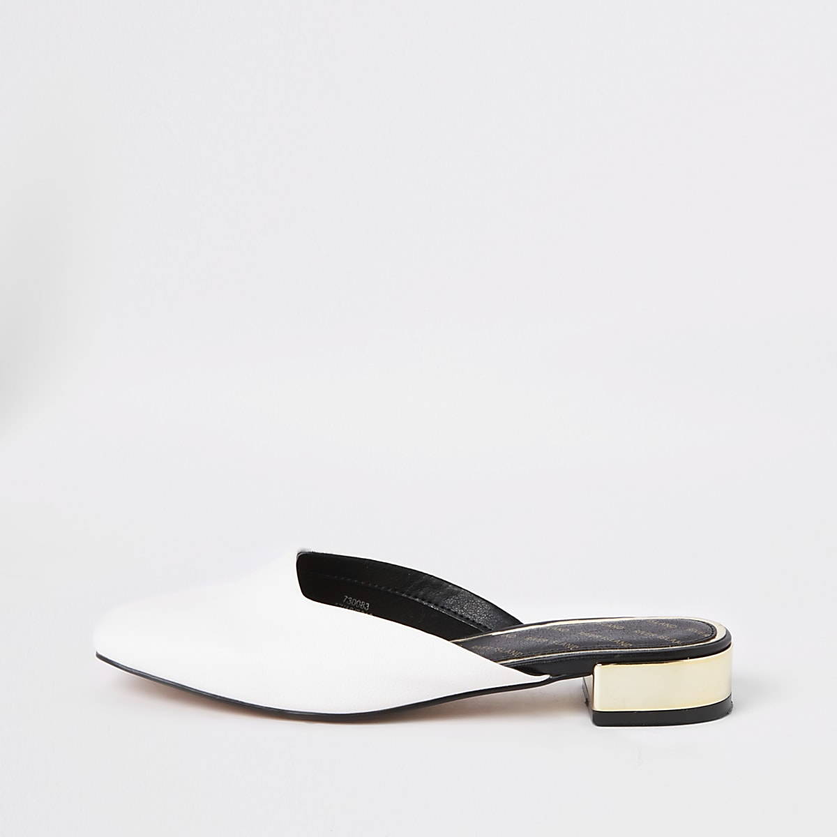 Witte loafers met open hiel en vierkante neus