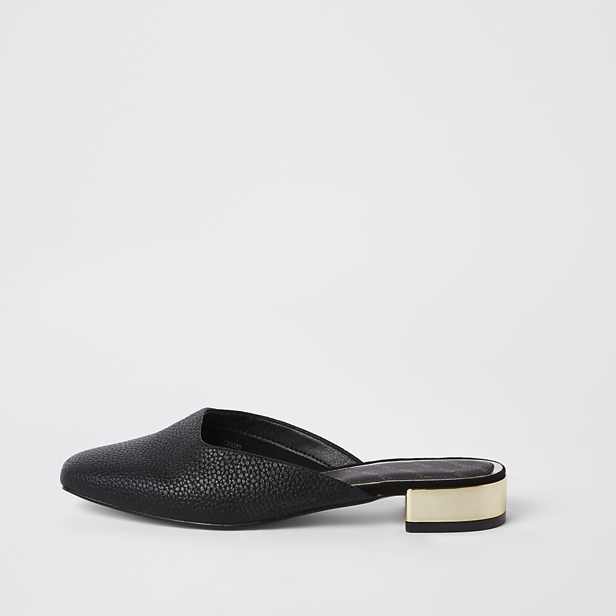 Black square toe backless loafers