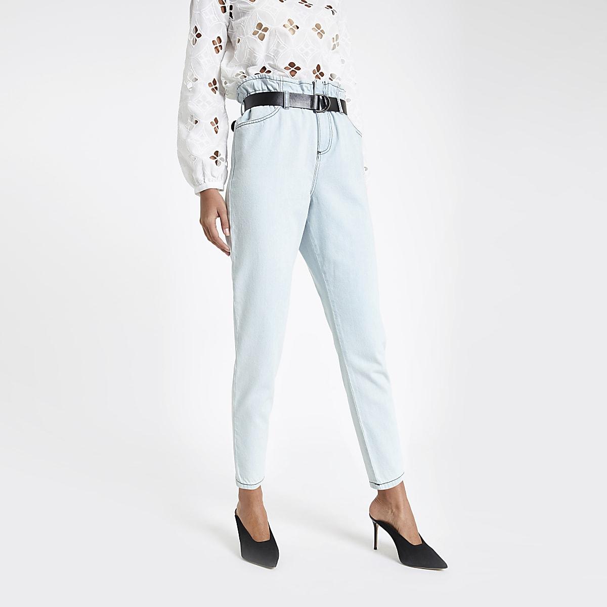 Light blue paperbag belted jeans