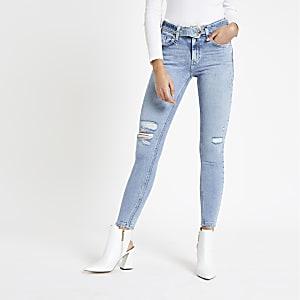 Amelie - Blauwe superskinny jeans met riem