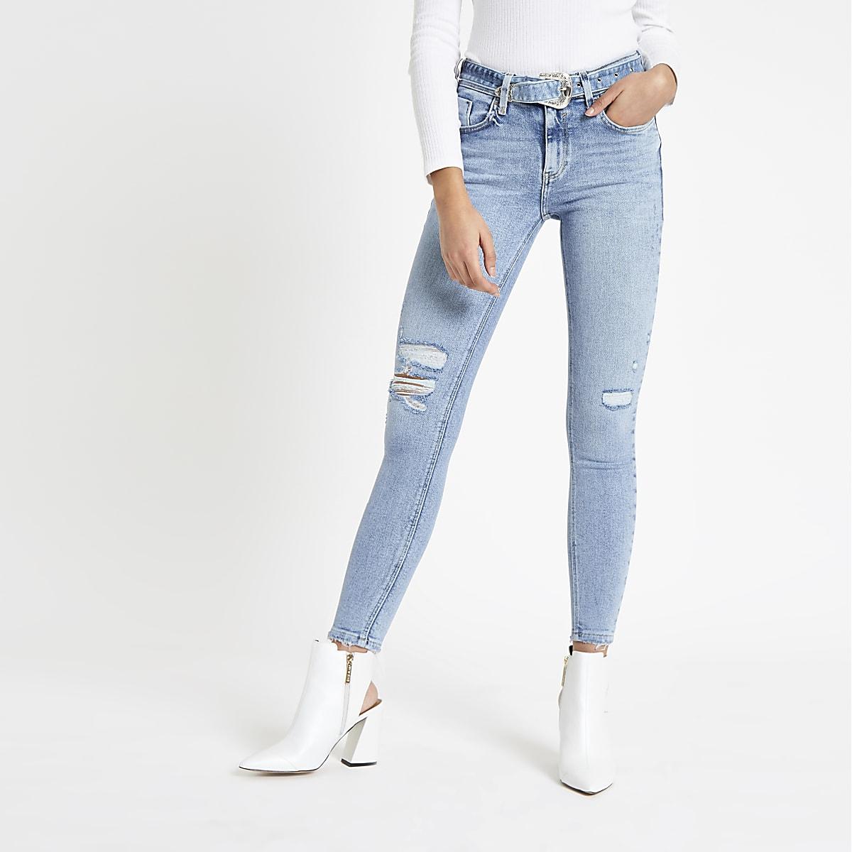 Blue Amelie super skinny belted jeans