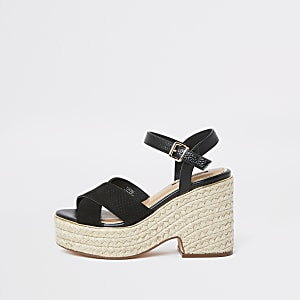 Black cross strap espadrille wedges