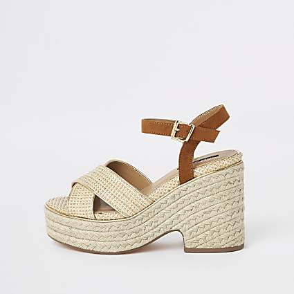 Beige cross strap espadrille wedges