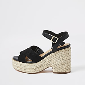 Black cross strap wide fit espadrille wedges