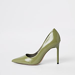 Green pointed skinny heel court shoes