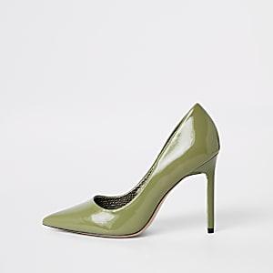 Groene puntige pumps met skinny hak