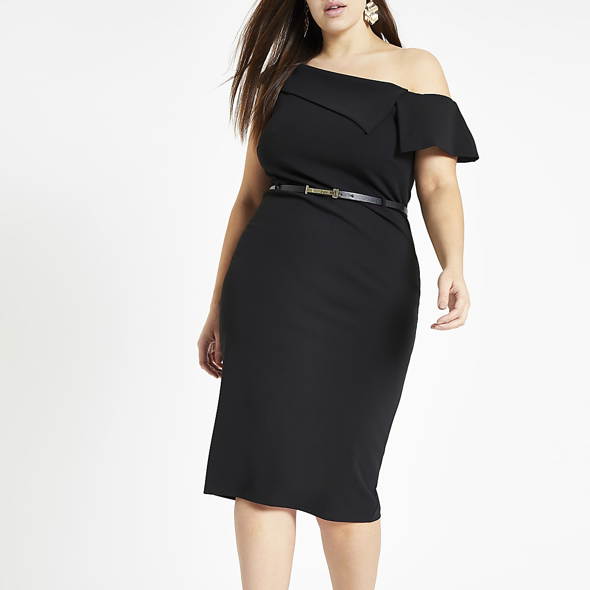 Plus black bardot belted bodycon midi dress
