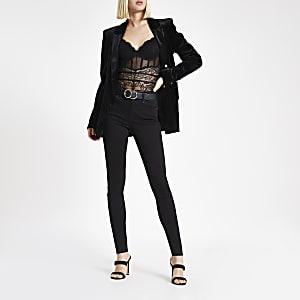 Black lace corset bodysuit