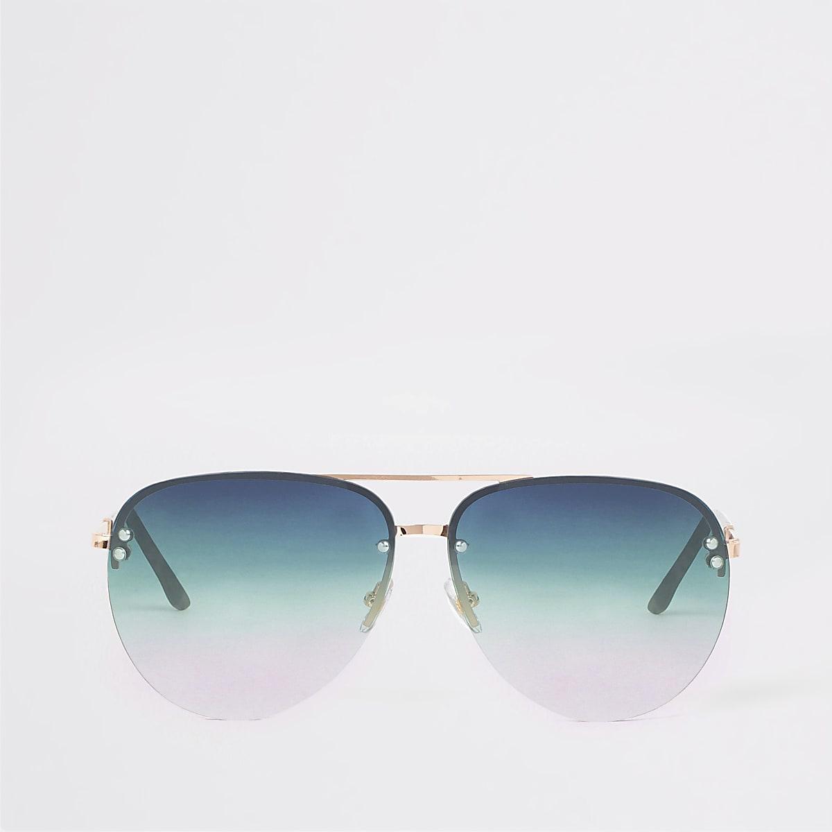 Gold tone green lens aviator sunglasses