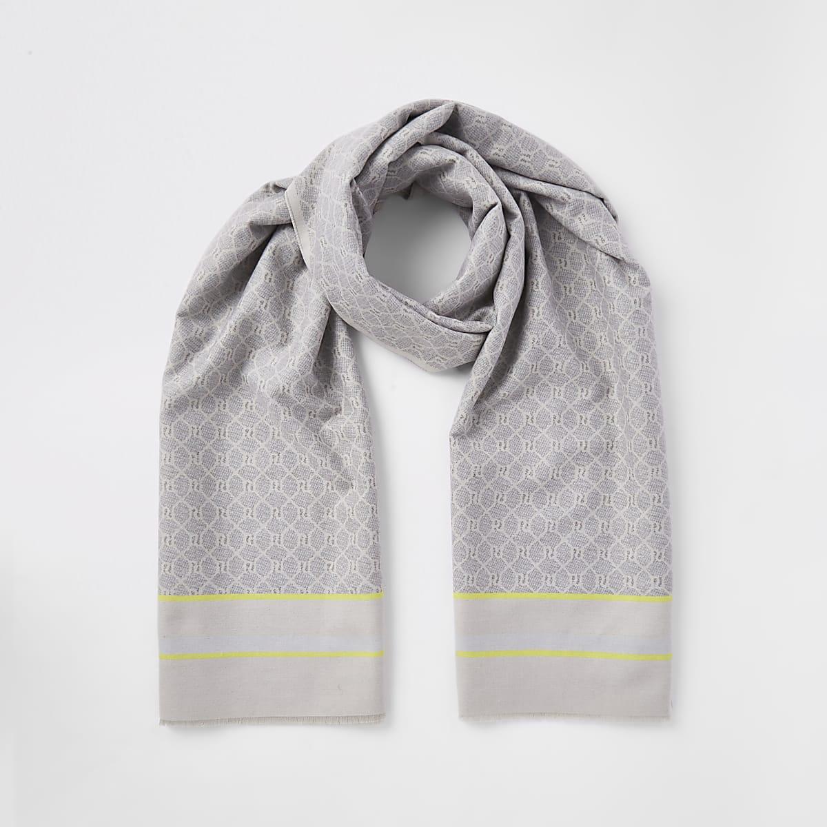 Grey RI monogram print blanket scarf