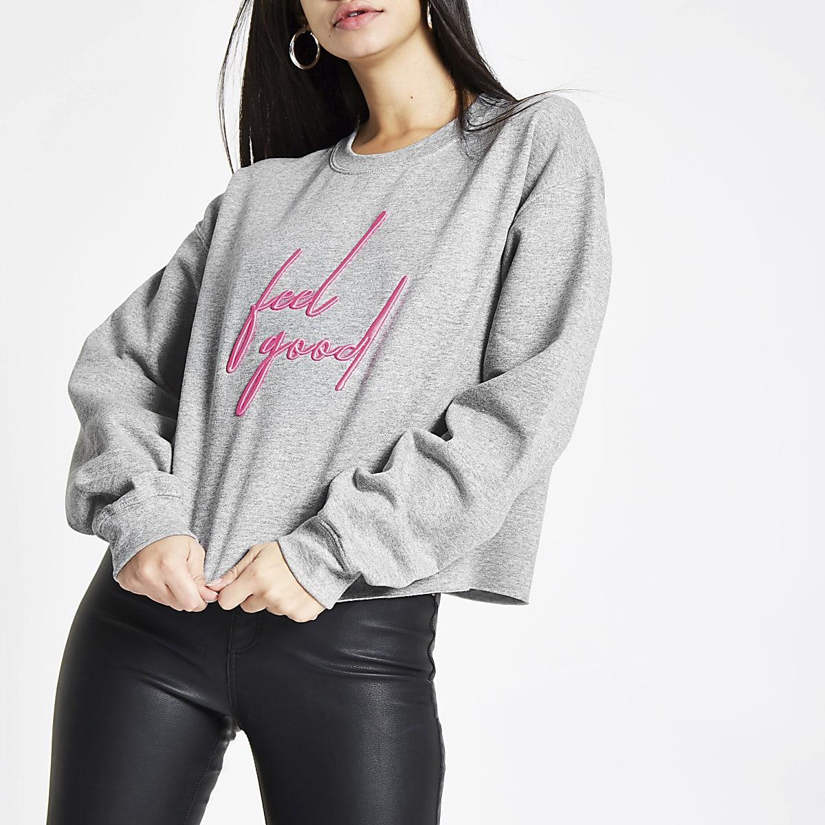 Grey 'feel good' embroidered sweatshirt