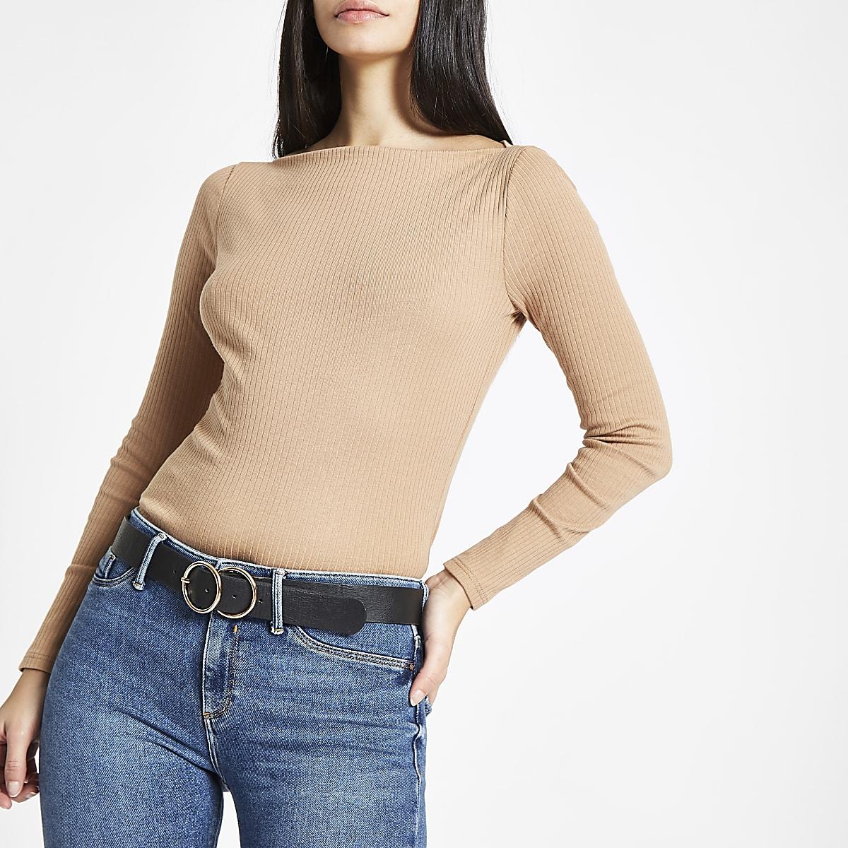 Camel ribbed boat neck long sleeve top
