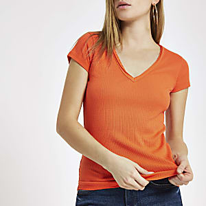 Orange ribbed V neck T-shirt